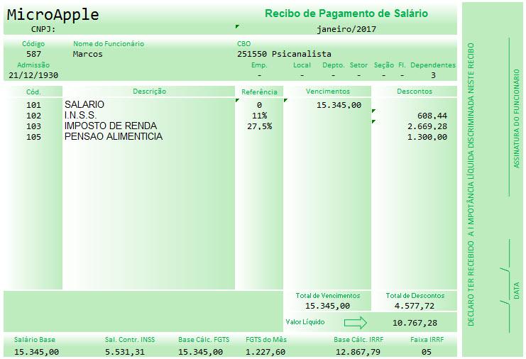 Planilha de contracheque (holerite) no Excel 6.0