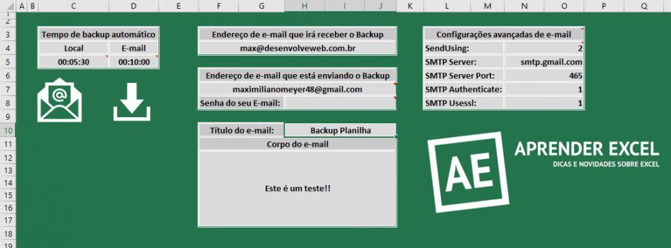 Planilha de backup local e via e-mail (cópia na nuvem) no Excel 2.0