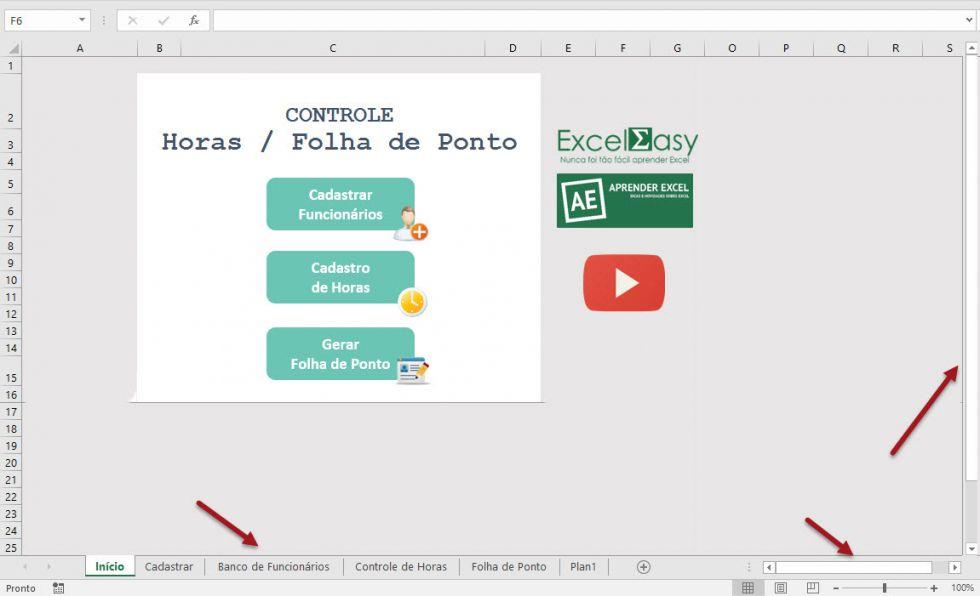 Como ocultar a guia de planilhas e as barras de rolagem no Excel