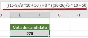 Calculando a nota padronizada da FCC no Excel