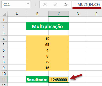 Como multiplicar no Excel - função =Mult()