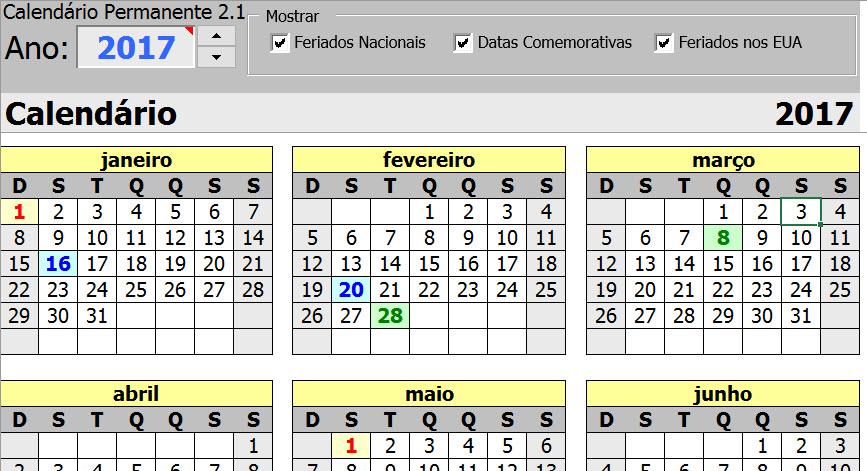 Calendario Su Excel.Calendario Permanente Gerador De Calendarios No Excel 3 0