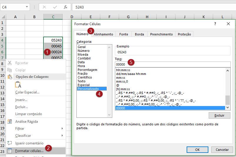 Como inserir zero à esquerda no Excel
