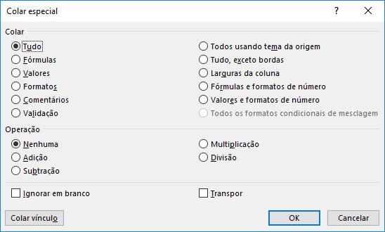 Usando o 'Colar Especial' do Excel