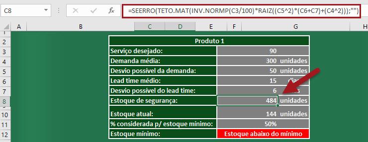 Planilha de estoque de segurança e estoque mínimo no Excel 2.0