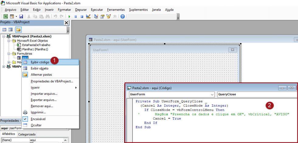 Como remover o botão de fechar ('x') nos forms do Excel