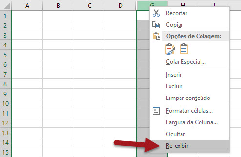 Como reexibir linhas ou colunas ocultas no Excel