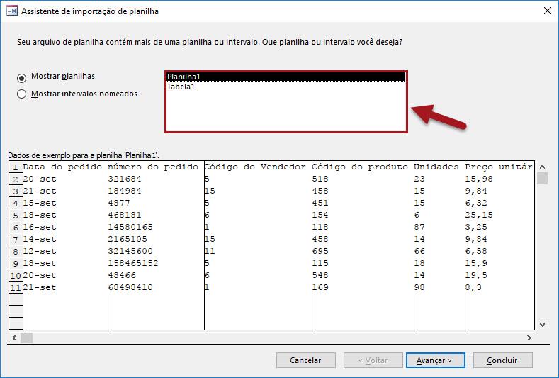 Exportando dados do Excel para banco de dados