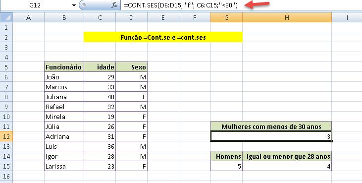 Função =Cont.se e =Cont.ses no Excel