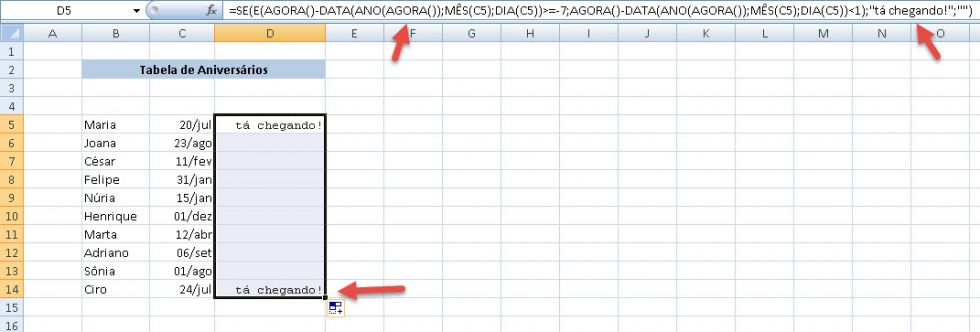 Planilha para controle de datas de Aniversários 5.0 no Excel