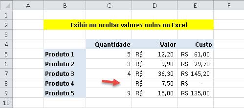 Exibindo ou ocultando o 0 em células vazias no Excel