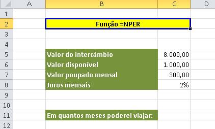 Função =Nper no Excel