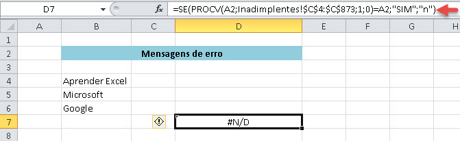 Repare que na função PROCV está pedindo dados que não estão dispostos na nossa planilha.
