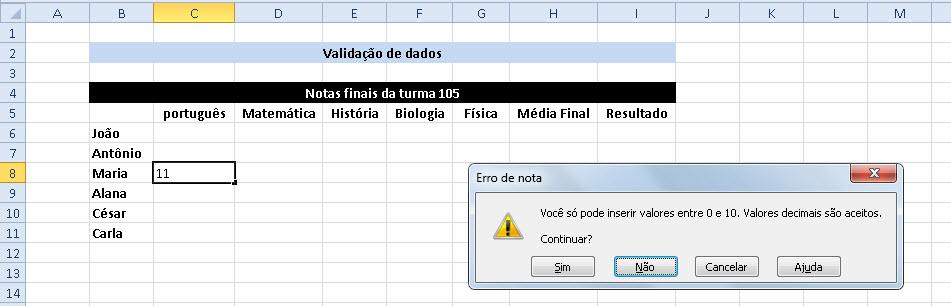 Como validar Dados no Excel
