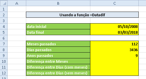 Planilha para cálculo de datas (função =Datadif) no Excel