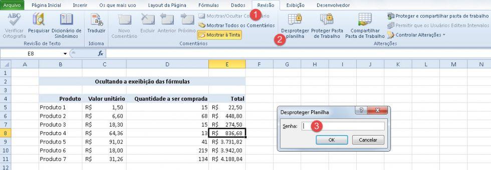 Ocultando fórmulas e restringindo a edição de células específicas no Excel