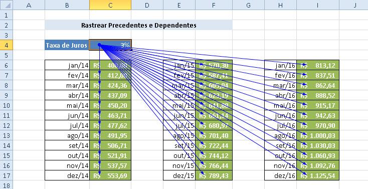 Rastreando dependentes e precedentes no Excel