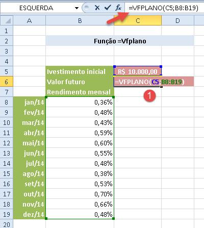 Função =Vfplano (calcular rendimentos no Excel)
