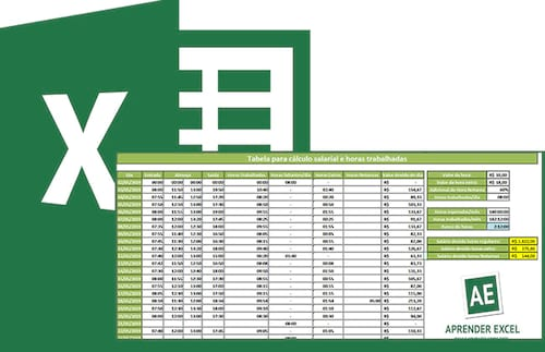 Planilha para o cálculo de horas trabalhadas e salário devido 15.0 no Excel