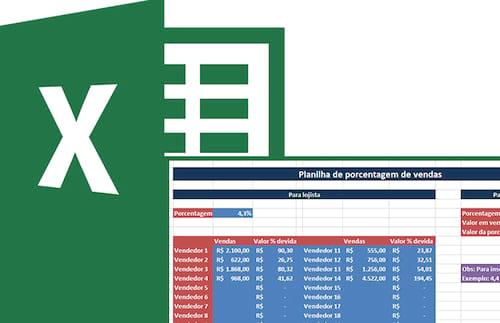 Planilha para cálculo de comissão de vendas (lojista e vendedor) no Excel 4.0