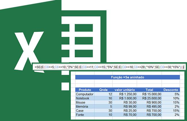 =Se aninhado (=Se composto - mais de 1 na fórmula) no Excel