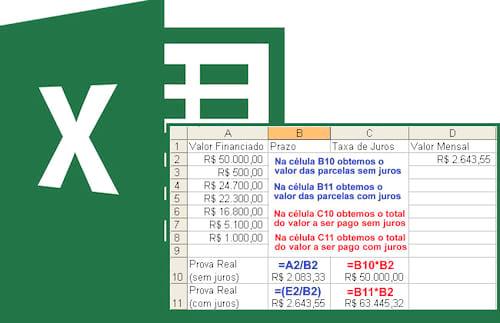 Cálculo de juros simples e composto no Excel