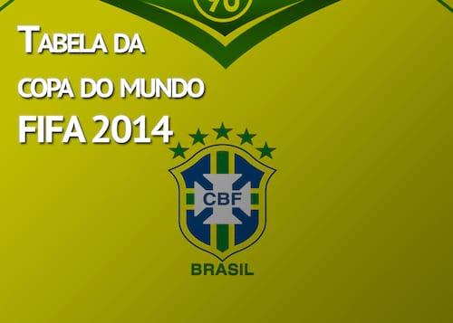 Tabela de jogos Copa do Mundo 2014 - Download