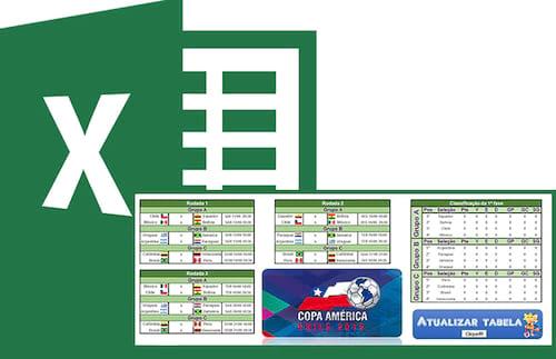 Tabela Copa América 2015 no Excel