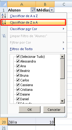 Como ordenar as linhas do Excel