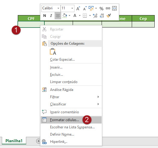 Formatando dados como CPF, RG, CNPJ, Telefone, CEP e Cartão de Crédito no Excel