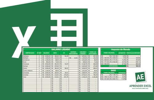 Planilha de salário líquido em Excel 7.0