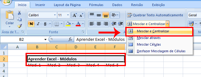 Como mesclar (juntar) células no Excel