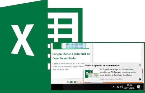 Como receber as notificações do Aprender Excel na sua tela