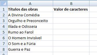 Contando caracteres de célula no Excel - Fórmula =Núm.caract