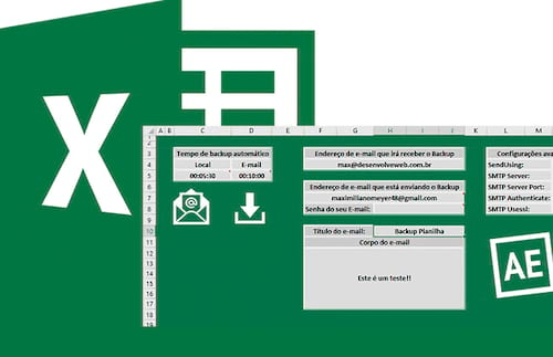 Planilha de backup local e via e-mail (cópia na nuvem) no Excel 2.0