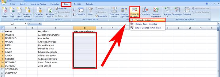Como fazer um dropdown list no Excel