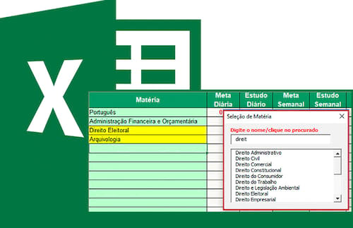 Planilha cronograma de estudos no Excel (Concursos, enem, vestibular) 2.0