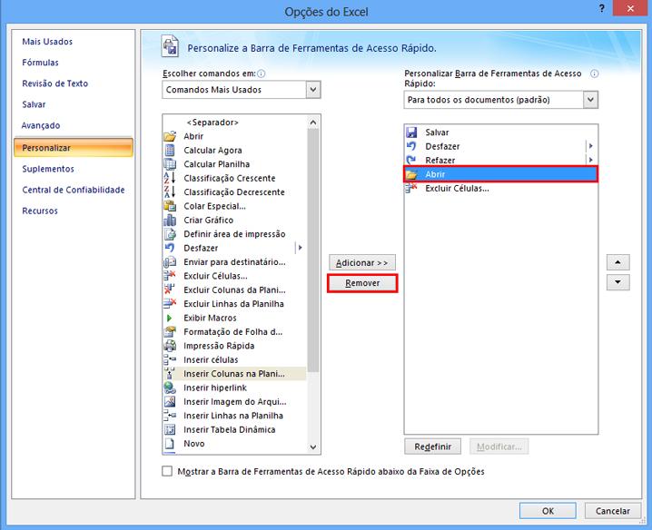 Como personalizar a barra de acesso rápido do Excel