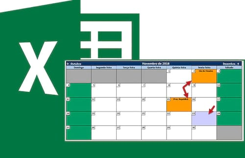 Calendário 2018 no Excel 4.0