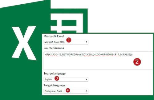 Tradutor de fórmulas de Excel
