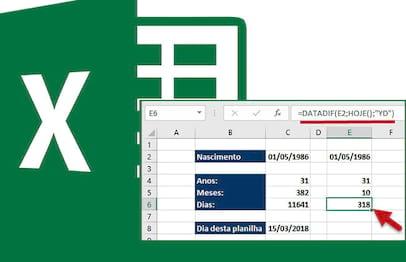 Calculando a idade em dias, meses e anos no Excel