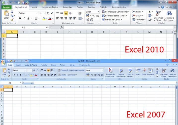 Diferenças entre Excel 2007 e 2010