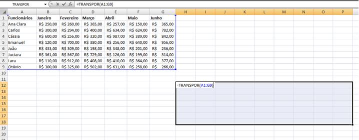 Função =Transpor no Excel