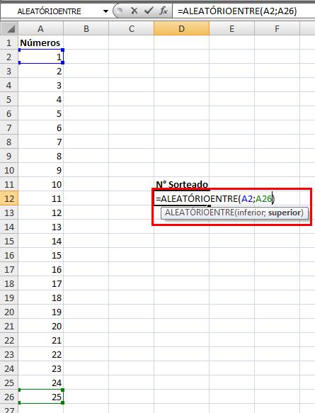Função =Aleatório e =AleatórioEntre no Excel