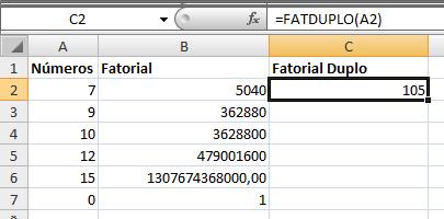 Função =Fatorial e =Fatduplo no Excel