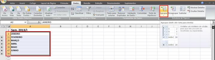 Como agrupar tópicos no Excel