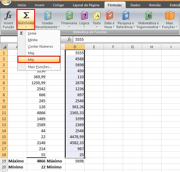 Recursos do botão AutoSoma (Soma, média, Contar números, Máx e Min)