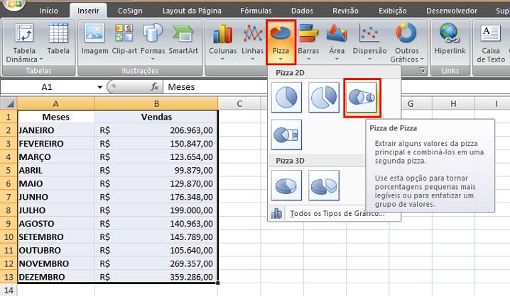 Como fazer Gráficos de Pizza no Excel