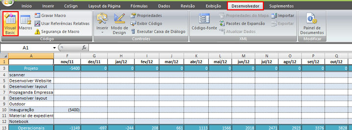 Realçando linha e coluna com VBA no Excel