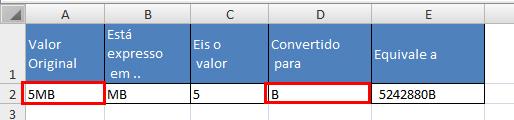 Planilha para conversão de formatos no Excel 4.0